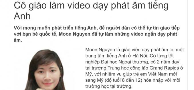 Cô Moon phát âm tiếng Anh